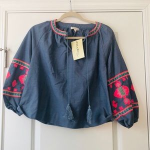 Rebellion Blue Chambray Embroidered Peasant Top